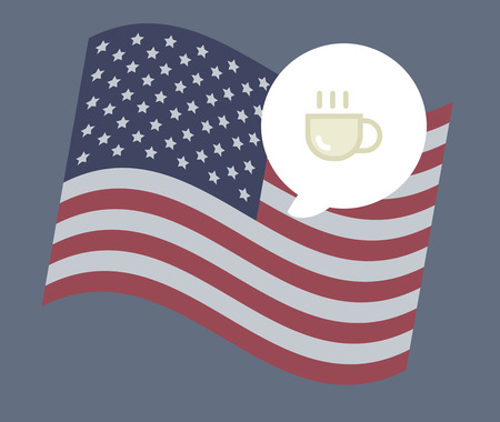 USA flag vector illustration: coffee