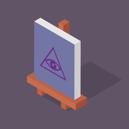 Isometric easel vector illustration: conspiracy Illustration