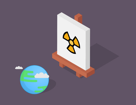 Isometric easel vector illustration