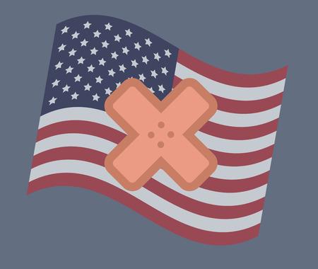USA flag vector illustration: Health care Ilustracja
