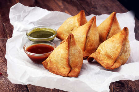 punjabi: Indian special traditional street food punjabi samosa