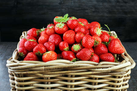 Fresh red strawberry loosely laid in different positions. Stock Photo