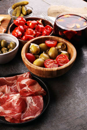 spanish tapas and sangria on wooden table Stock Photo