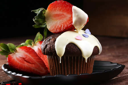 cake for Valentine day with chocolate, white chocolate and strawberries Stock Photo - 80171451
