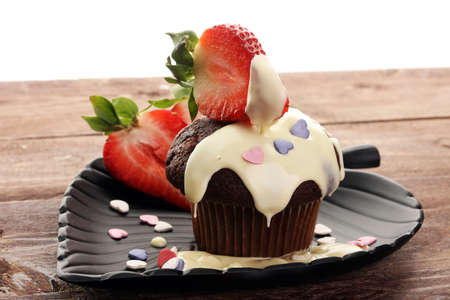 cake for Valentine day with chocolate, white chocolate and strawberries Stock Photo