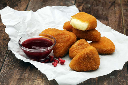 Fried Camembert with Cranberry sauce 스톡 콘텐츠