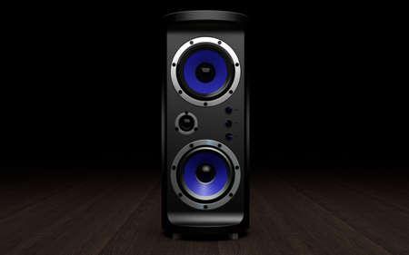 Audio speakers on black background