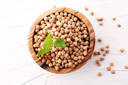 Raw Chickpeas on a bowl. Chickpeas is nutritious food. Healthy and vegetarian food