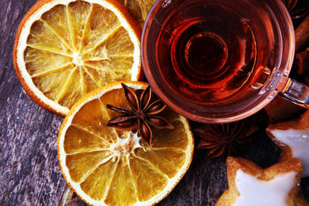Christmas, Thanksgiving drinks. Autumn, winter cocktail grog, hot sangria, mulled wine - cinnamon, anise Stock Photo