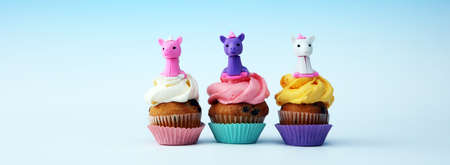 Unicorn cupcakes for a party, birthday or baby shower. bakery dessert concept