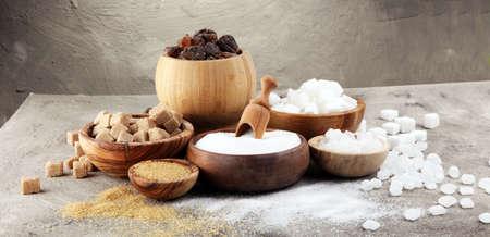Various types of sugar, brown sugar and white Archivio Fotografico