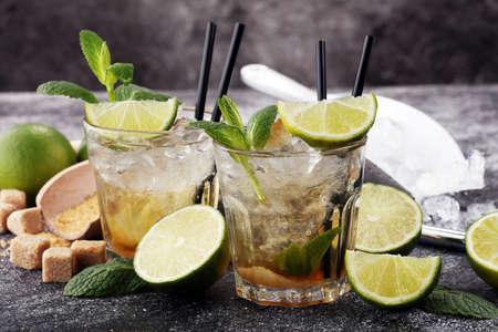 Lemon Fruit Lime Caipirinha of Brazil. cold alcohol cocktail.