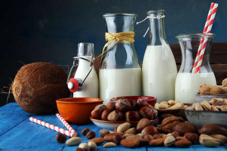 Alternative types of milks. Vegan substitute dairy milk 스톡 콘텐츠