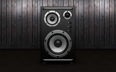 Audio speakers on black background. 3d rendering Banque d'images