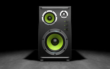 Audio speakers on black background. 3d rendering Stock Photo