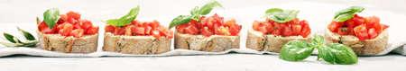 fresh tomato bruschetta. italian food appetizer with basil. Reklamní fotografie