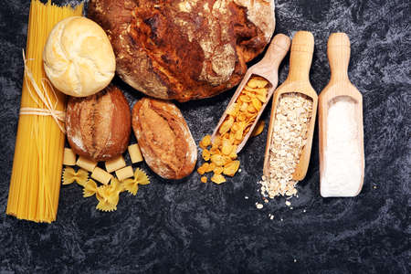whole grain products with complex carbohydrates on rustic background 免版税图像 - 103119427