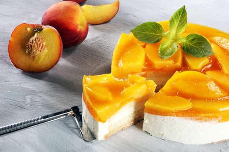 cheesecake with peache. Homemade cream cake with peaches.