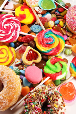Candies with jelly and sugar. colorful array of different child's sweets and treats
