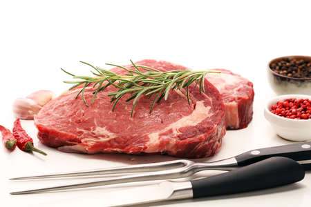 Steak raw. Barbecue Rib Eye Steak, dry Aged Wagyu Entrecote Steak Stock Photo