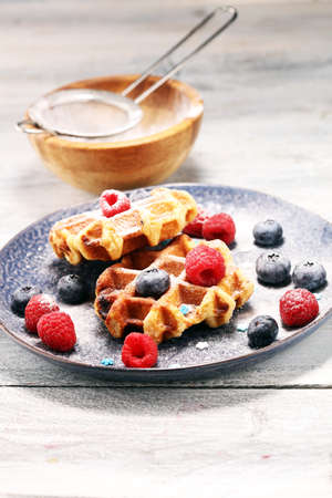 waffles with fresh blueberries, sugar and raspberries 免版税图像