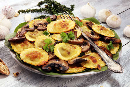 Ravioli with spinach or Pumpkin Tortellini with chard and mushrooms