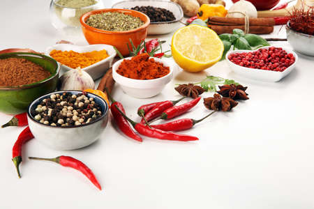 Spices and herbs on table. Food and cuisine ingredients 免版税图像