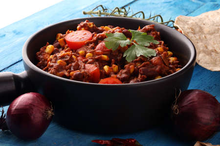 Hot chili con carne. mexican food tasty and spicy Stock Photo