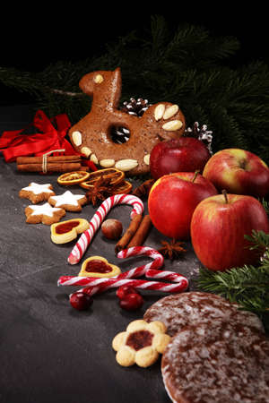cookies, nuts and apples a christmas bakery concept.