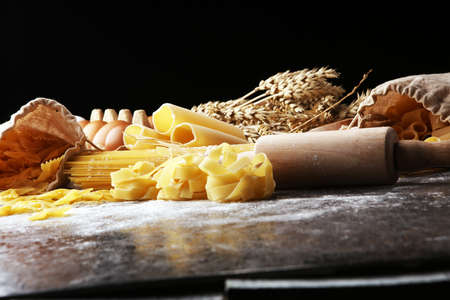 pasta. Fresh homemade pasta with pasta ingredients on the rustic table Stockfoto