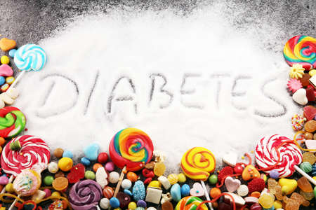 Diet and weight loss, denial of sweet. diabetes text with concept. Sugar description in black. sweets. Diabetes problems, harm from eating, dependence on flavoring. Pain in the teeth, caries