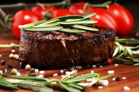 Barbecue Rib Eye Steak. Black Angus Prime meat steaks Machete, Striploin, Rib eye, Tenderloin fillet mignon