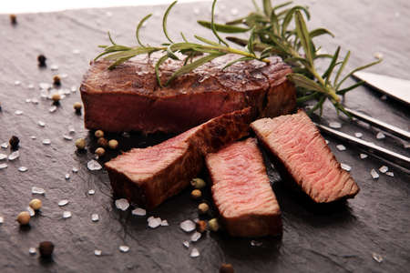 Barbecue filet Steak. Black Angus Prime meat steaks Tenderloin fillet mignon Stock Photo