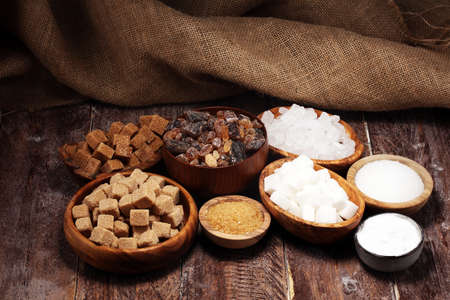 Various types of sugar, brown sugar and white 스톡 콘텐츠