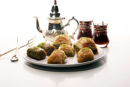 Middle eastern or arabic dishes. Turkish Dessert Baklava with pistachio. 版權商用圖片