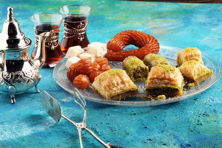 Middle eastern or arabic dishes. Turkish Dessert Baklava with pistachio. Stok Fotoğraf