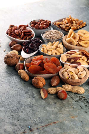 Nuts mixed. Composition with dried fruits and assorted healthy nuts.