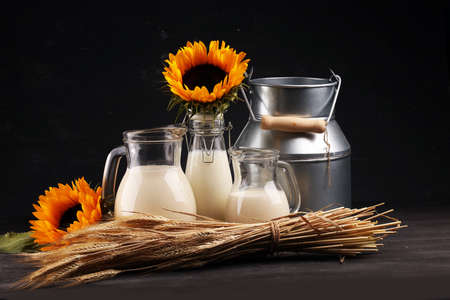 A jug of milk and glass of milk on a wooden table and sunflower Фото со стока