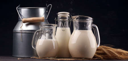 A jug of milk and glass of milk on a wooden dark table. Фото со стока
