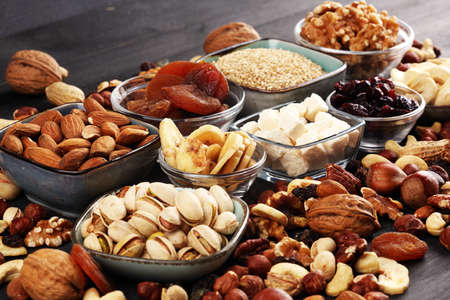 Composition with dried fruits and assorted healthy nuts mix