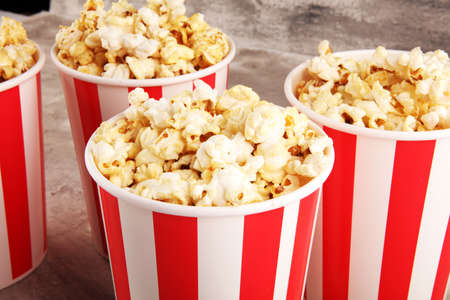 Cinema concept with popcorn. sweet popcorn in box