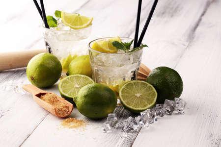 Lemon Fruit Lime Caipirinha of Brazil. Cocktail caipi