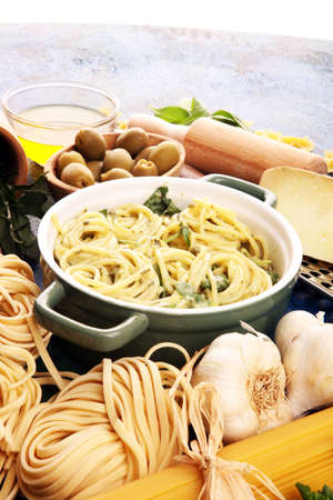 Spaghetti with gorgonzola and spinach souce and ingredients Stock fotó