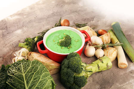 Broccoli soup with fresh broccoli for dinner Stock fotó