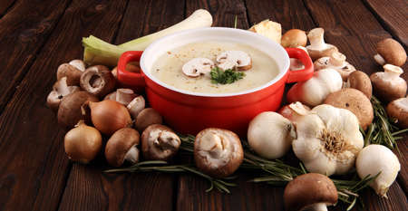 Fresh creamy mushroom soup with fresh and healthy champignons