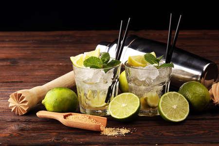 Lemon Fruit Lime Caipirinha of Brazil. Cocktail caipi Stock Photo