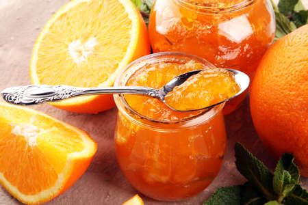 orange homemade jam marmelade in a glass jar. fresh juicy jelly Reklamní fotografie