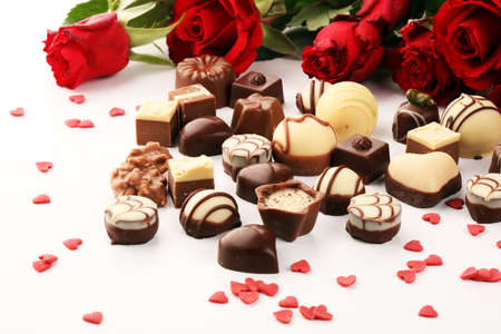 Chocolates Pralines and Roses Perfect Combination for the Woman You Love. Valentines Day