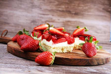strawberry cake and many fresh strawberries