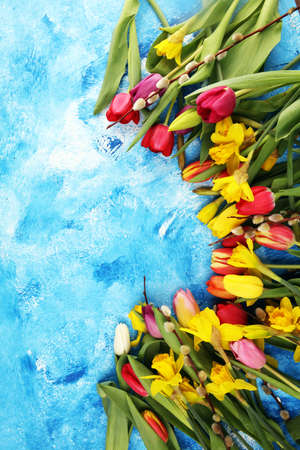 blooming daffodils and easter tulips for spring decoration on rustic background